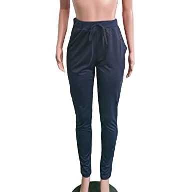 Sylar Pantalones Mujer Chandal, Simple Color Sólido Cintura ...