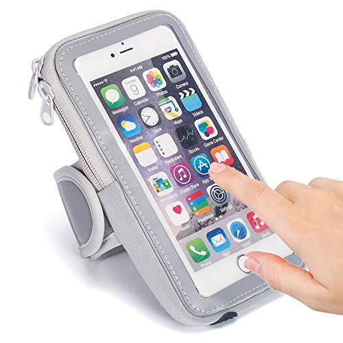 SKYNOW-Sport Armband for 5.5''- 6.5'' iPhone,Sweatproof Waterproof for iPhone XR XS Max 8Plus 7Plus. (Silver) ()