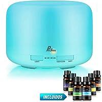 Difusor de Aceites Esenciales - Pesoo 500ml Difusor Aromaterapia Difusores de Aromas Humidificador Aromaterapia Purificador de Ambiente Ultrasónico Luces Ajustables de 7 Colores con 6 Botellas de Aceite Esencial