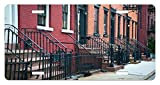 new york architectural metals - Urban License Plate by Lunarable, Stairways Leading To Doors of Row of Old Apartments Architectural New York City View, High Gloss Aluminum Novelty Plate, 5.88 L X 11.88 W Inches, Multicolor