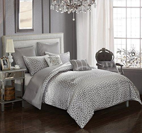 Pop Shop Striped Dot Jaquard Comforter Set, King, Silver ()