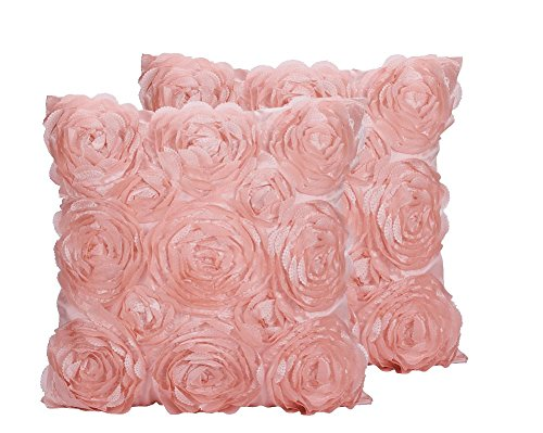 SeptCity Decorative Throw Pillow Covers for Couch Cushion Case, Romantic Love Satin Rose Wedding Party Home Decor , Home Gift (Set of 2)