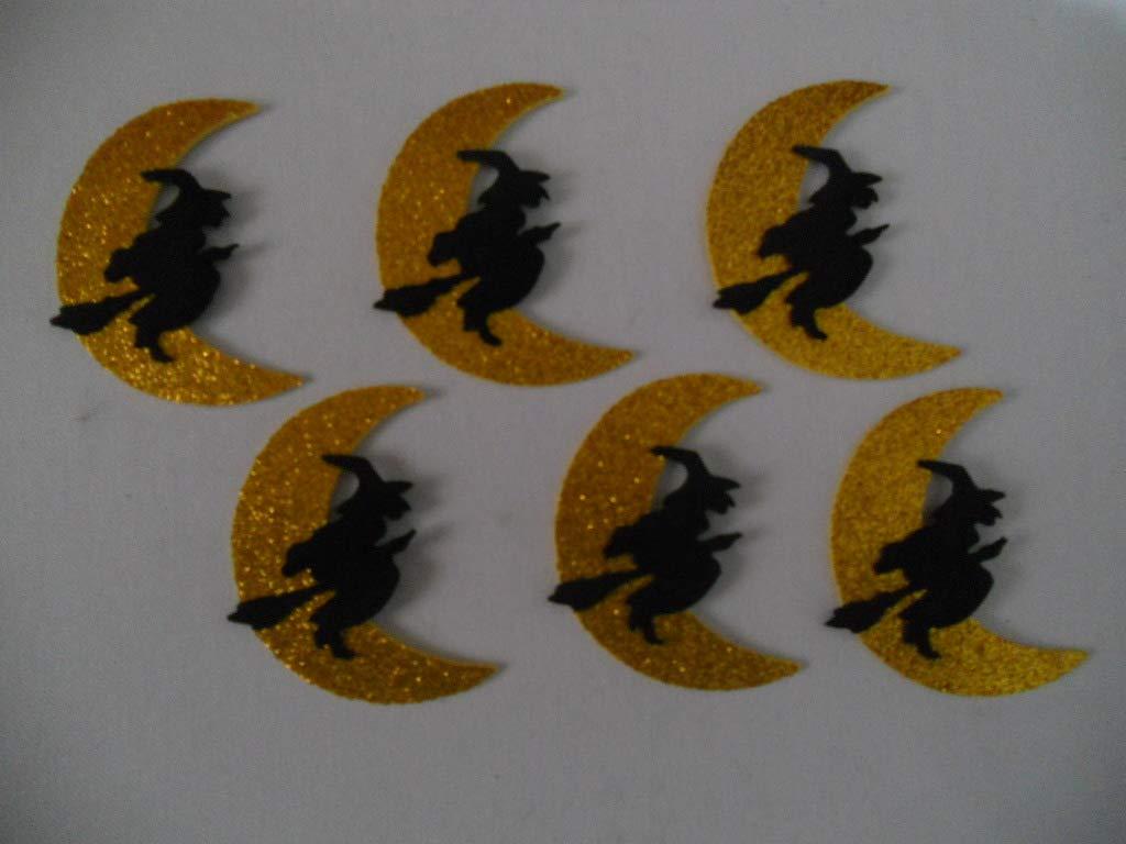 6 Brujas con luna brillante para decorar en halloween de goma eva 9, 2 x 7, 5 cm Silvys