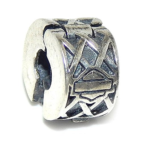 Pro Jewelry 925 Solid Sterling Silver Harley Davidson Smbol and Lattice Design Clip Lock Charm Bead