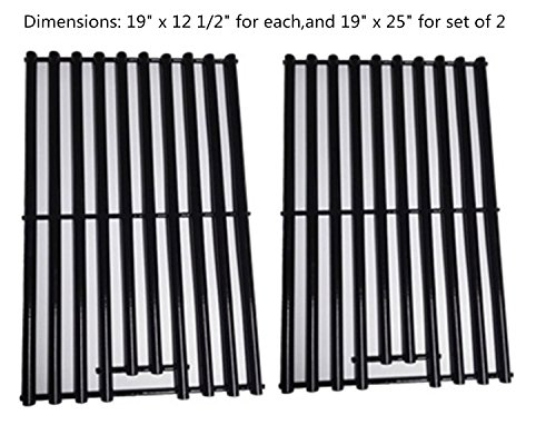 """Zljiont Replacement Porcelain Cooking Grids (Set of 2) For Bakers and Chefs, BBQ Barbecues Galore, Brinkmann, Broil-mate, Charbroil, Capt'n Cook, Charmglow, Grand Hall, Grill Chef, Grill Mate, Grillpro, Members Mark, Sams Club, Sterling & Turbo Gas Grill, Broil-Mate : 726454, 726464, 735069B, 735089S.., Members Mark : 04ANG, Monarch04ALP.., Charbroil : 4632210, 4632215, 463221503, 4632220,Bakers and Chefs : Y0655 LPG, Y0656; Brinkmann : 2300, 6345, 6345-0, 6345-1....(19"""" x 12 1/2"""")"""