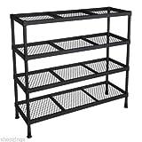 4 Tier Metal Shelving Shelf Rack Garage Office Kitchen Storage Unit Wire Utility