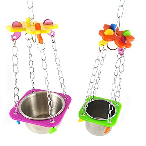 Da.Wa 1Pcs Birds Basin Colorful Acacia Parrots Hanging Food Basin Feed Bowl Swing Cage Toys for Parakeet by Da.Wa (Image #5)