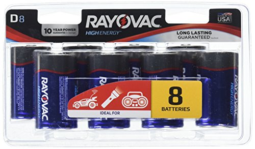 Rayovac Alkaline D Batteries, 813-8CF, 8-Pack