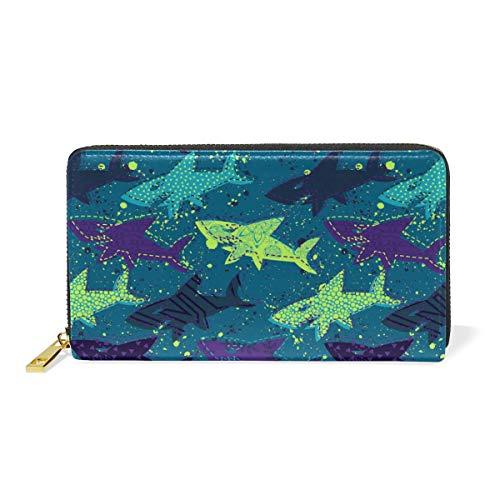 Shark Creative Doodle Real Leather Zip Around Wallet Wristlet Minimalist Wallet Travel Purse Wristlet