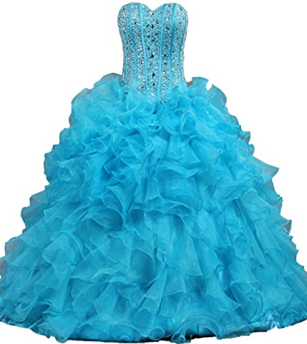 ANTS Women's Ruffled Quinceanera Dress Ball Gown Prom Dresses Size 4 US Blue