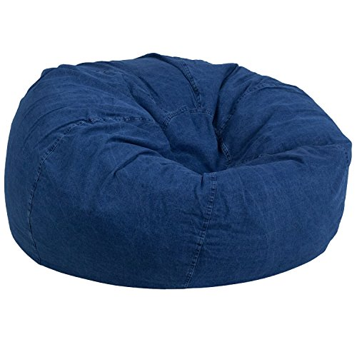 Flash Furniture Oversized Denim Kids Bean Bag Chair Blue Denim Bean Bag