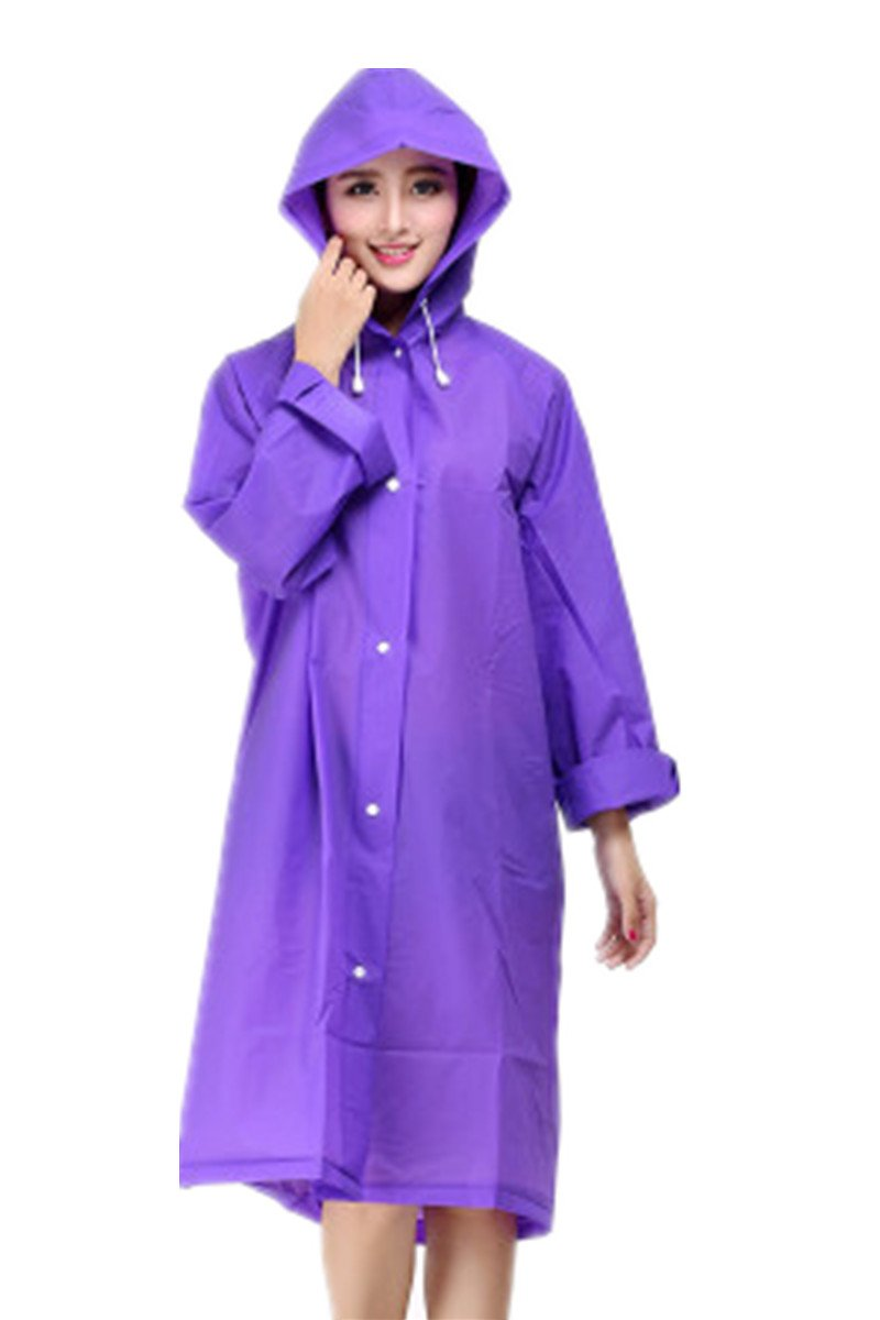ANBOVER Unisex Portable Eva Raincoat Poncho Fashion Hooded Long Rain Jacket Purple L