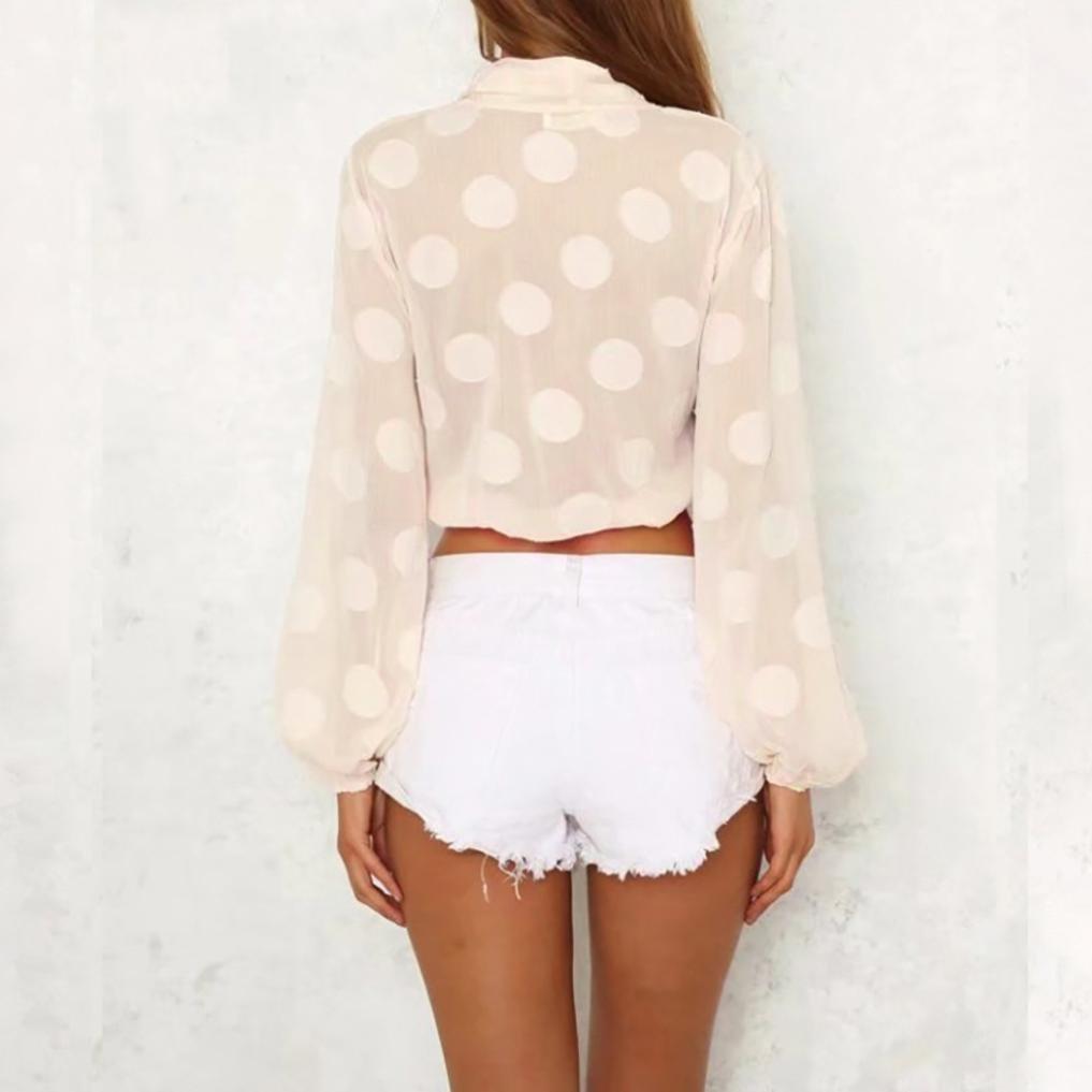 d0e53130589fe8 UONQD Women V-Neck Dot Crop Tops Blouse Transparent Shirt at Amazon Women s  Clothing store