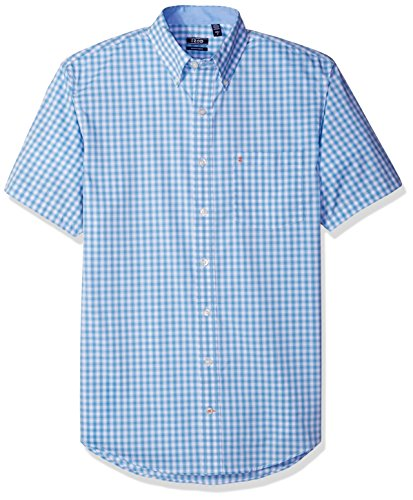 IZOD Men's Big and Tall Advantage Performance Poplin Short Sleeve Shirt, Deep Heritage Blue, 4X-Large Big (Stretch Shirt Spandex Poplin)