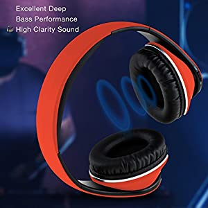 Bluetooth Wireless Foldable Hi-fi Stereo Over-ear Headphone Sports Earbuds Earphone with Microphone Adjustable Headband for Smart Phones Tablets Red mother's day gift