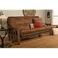 Up North Futon Lodge Frame and Mattress Full Size Sofa Bed (Sand Walnut)