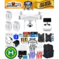 DJI Phantom 4 Advanced+ Drone MEGA Ready To Fly EXTREME ACCESSORY BUNDLE with Black/Blue Backpack, Vest Strap, Extra Props, Landing Pad Plus Much More (3 Batteries Total)