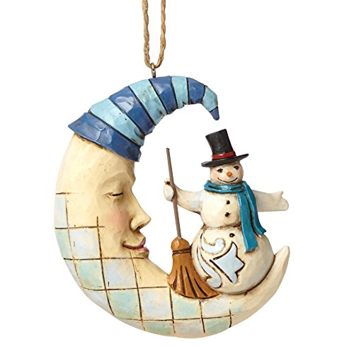 "Jim Shore Heartwood Creek Snowman on Sleeping Moon Stone Resin Hanging Ornament, 3.25"" (Snowman Hanging Ornament)"