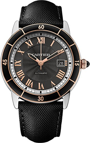 Cartier Ronde Croisiere Black Dial SS Leather Automatic Men's Watch W2RN0005