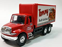 A BEAUTIFUL COLLECTORS COMMERCIAL TRUCK FROM WITH PULLBACK ACTION AND FREE ROLLING WHEELS.