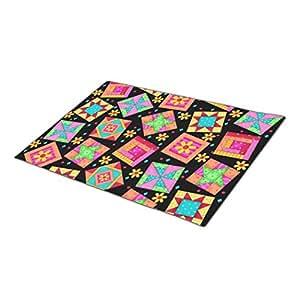 Triangly Doormat Colorful Quilt Art Patchwork Blocks Black Indoor Door Mat