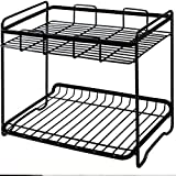 XY Soap dish Double Wrought Iron Storage Racks Kitchen Floor Stand Counter Spice Racks Bathroom Toiletries Storage Racks 26.5cm 24cm 17cm