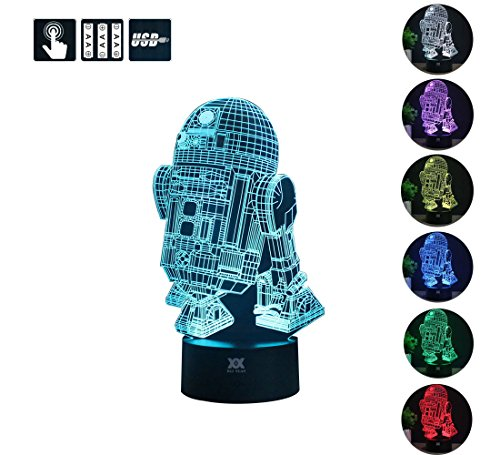 3D Lamp R2-D2 Table Night Light Force Awaken Model 7 Color Change LED Desk Light with Multicolored USB Power for Living Bed Room Bar Best Gift Toys Designed by HUI YUAN