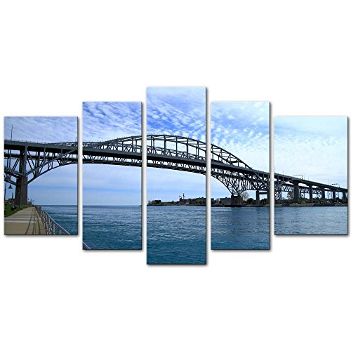 Wall Art Decor Poster Painting On Canvas Print Pictures 5 Pieces Blue Water Bridge Link Port Huron Michigan and Sarnia Ontario Bridge Landscape Framed Picture for Home Decoration Living Room Artwork