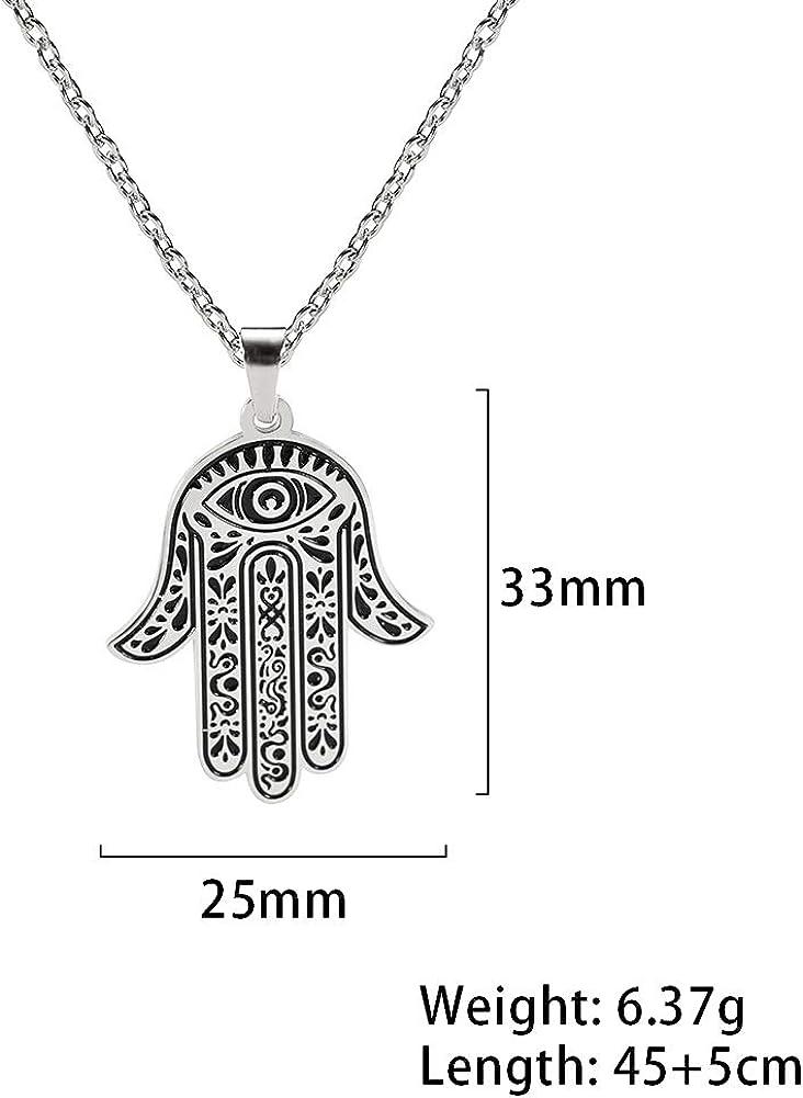 mujeres VASSAGO Collar de acero inoxidable con colgante de mano de F/átima con forma de amuleto grabado para hombres adolescentes