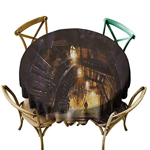 Wendell Joshua Blue Tablecloth 60 inch Fantasy,Underground Tunnel