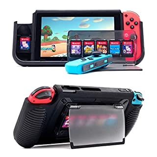 Protective Case for Nintendo Switch, Grip Cover with 7 Storage Slots for Game Cards, Multi-Angle Adjustable Stand, Grip Cover with Shock-Absorption and Anti-Scratch Design