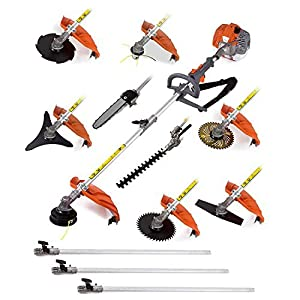 CHIKURA Multi 52cc 2stroke Weed 12 in 1 Gasoline stimmer Brush Cutter Hedge Trimmer 3 Extension Pole