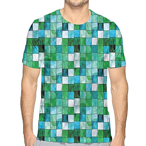 t Shirt for Men Emerald,Mosaic Square Tiles Aquatic Custom t Shirt XXL