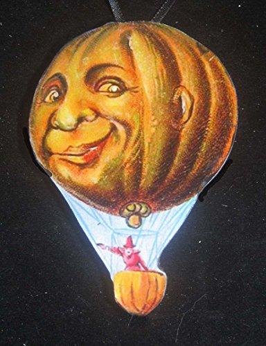 Pumpkin Balloon, Halloween Ornament, Handcrafted Wood, Holiday Decoration, Magnet, Hot Air Gondola, Party Decoration, Husband (Halloween Decor With Balloons)