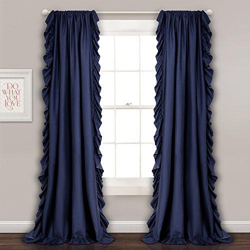 Lush Decor Reyna Window Curtain Panel Pair, 54 x 84, Navy (Curtains Blue Ruffle)