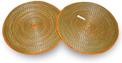 African Gift Shop Handmade Rwanda Plate Mats Made of Sweet Grass & Sisal Coil | Heat Resistant Round Woven Trivets |Simple Design Woven Costar in Dark Gold Color