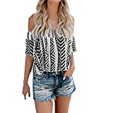 Spbamboo Women Casual Off Shoulder Print Blouse Short Sleeve Loose Top Shirt Tee