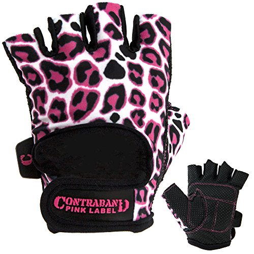 Contraband Pink Label 5297 Womens Design Series Leopard Print Lifting Gloves (PAIR) (Pink/White, Small)