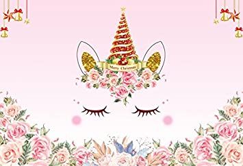 Laeacco Unicorn Party Decoration Backdrop 7x5ft Merry Christmas Vinyl Photography Background Cute Watercolor Flower Pink Backdrop Xmas Tree Christmas