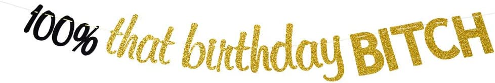 100% That Birthday Bitch Banner - Happy Birthday Party Bunting Sign, Funny Birthday Party Decor, Gold Glitter