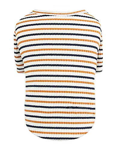 Pet Favorite Puppy Face Dog T-Shirts Clothes, Striped Dog Shirt for Small Medium Large Dog Cat Light Tee Shirt with Sleeves(X-Small, Orange)