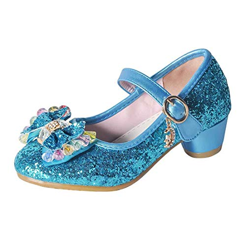 O&N Kids Girls Mary Jane Wedding Party Shoes Glitter Bridesmaids Low Heels Princess Dress Shoes Blue 13 M US Little Kid -
