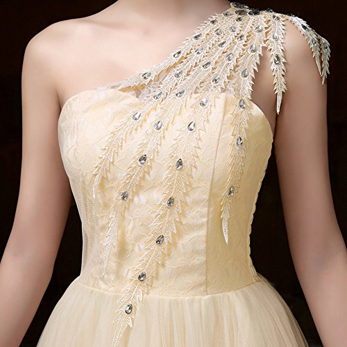 Une Épaule Court Bal Bridemaid Champagne Robe De Soirée Des Femmes Drasawee