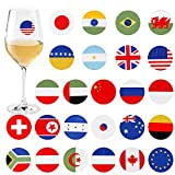 Avery Barn 25pc Mixed Dinosaur Shape Party Supply Wine Glass Marker Silicone Stickers - Set 2: Flag-tastic
