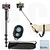 Pro Series 72'' Monopod w/ Quick Release, 43'' inches / 3.6' feet Selfie Extension Pole Monopod, Wireless Remote For iPhone X 8 8+ 7 Plus 7 S8+ Note 8 & Other phones + eCost Microfiber Cloth