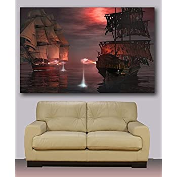 Pirate Ship, Huge Canvas Print, Ready to Hang 30