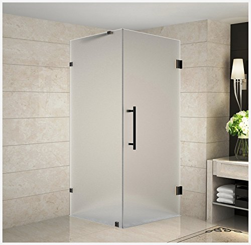 """Aston Aquadica 36"""" x 36"""" x 72"""" Completely Frameless Square Hinged Shower Enclosure in Frosted Glass, Oil Rubbed Bronze"""