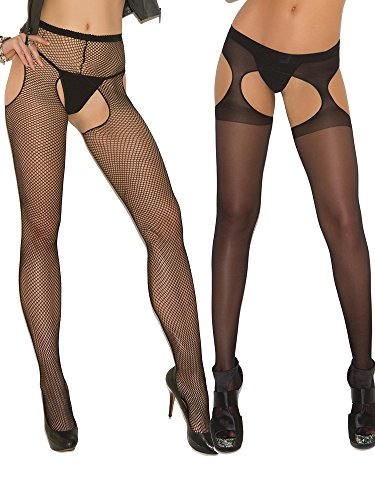 Pantyhose Style Suspender (Womens Plus Size Sexy Sheer Fishnet Crotchless Black Suspender Pantyhose Hosiery Stockings- 2 Pack)