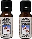 Set of 2 - Concentrated Fragrance Oil - Angel Whispers - Green leafy ferns and sweet florals w/ jasmine and white floral lily. Made w/Essential oils (.33 fl.oz.)