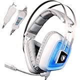 Sades A8S USB 7.1 Surround Sound Gaming Headphone Stereo Computer Game Headset Vibration Noise Canceling Breathing LED Light(White)